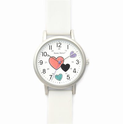 Nurse Mates Watch Analog With Second Hand Glitter Hearts White Strap