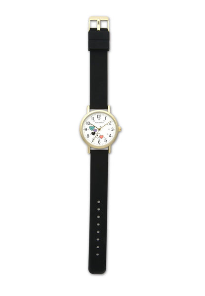 Nurse Mates Watch Analog With Second Hand Glitter Hearts Black Strap