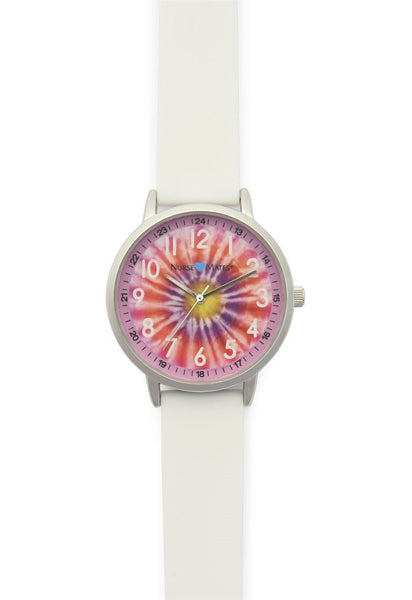 Nurse Mates Watch Analog With Second Hand Tie Dye Pink 1.5""