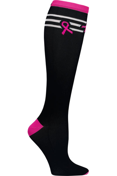 Cherokee Printsupport Compression Socks Wide Calf 8-12 mmHg Breast Cancer Awareness Baseball Stripes at Parker's Clothing and Shoes
