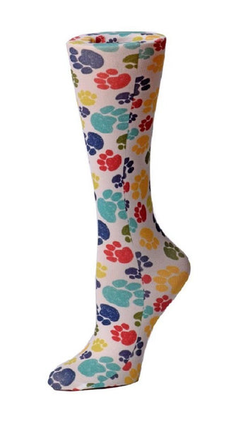 Cutieful Moderate Compression Socks 10-18 MMhg Wide Calf Knit Paw Prints at Parker's Clothing and Shoes.