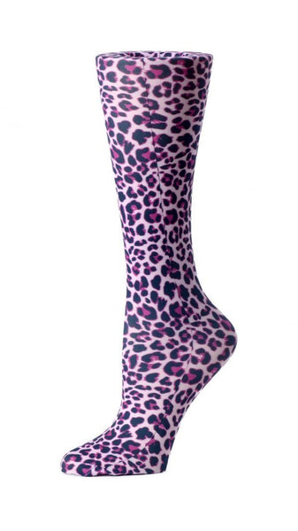 Cutieful Moderate Compression Socks 10-18 MMhg Wide Calf Knit Pink Leopard at Parker's Clothing and Shoes.