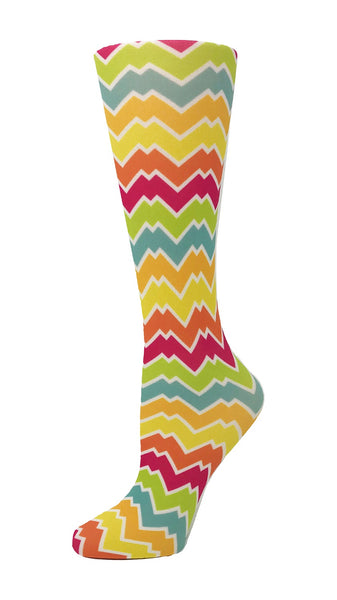 Cutieful Mild Compression Socks Sheer 8-15 mmHg Rainbow Chevron at Parker's Clothing and Shoes.