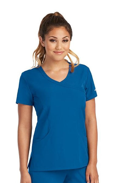 Skechers by Barco Scrub Top Reliance Mock Wrap in New Royal at Parker's Clothing and Shoes.