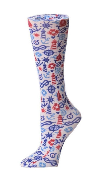 Cutieful Moderate Compression Socks 10-18 MMhg Wide Calf Knit Seabound at Parker's Clothing and Shoes.