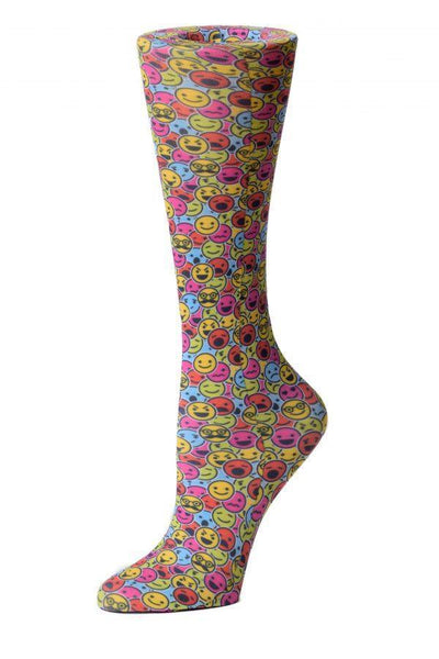 Cutieful Moderate Compression Socks 10-18 MMhg Wide Calf Knit Smiley Faces at Parker's Clothing and Shoes.