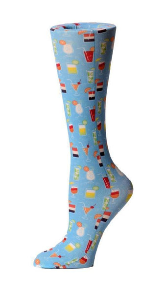 Cutieful Moderate Compression Socks 10-18 MMhg Wide Calf Knit Summer Drinks at Parker's Clothing and Shoes.