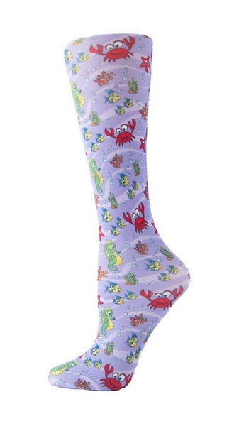 Cutieful Moderate Compression Socks 10-18 MMhg Wide Calf Knit Under The Sea at Parker's Clothing and Shoes.