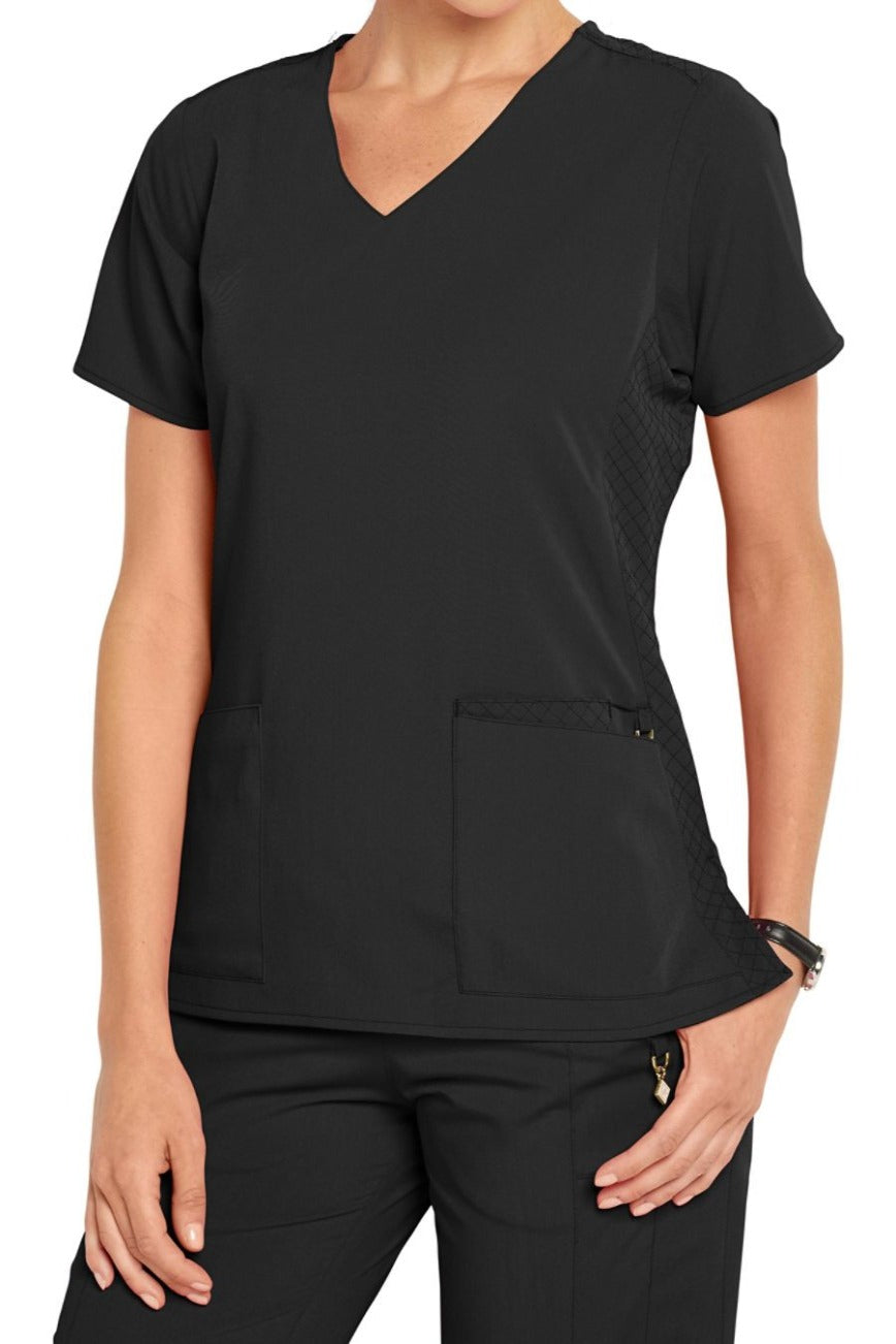 Vera Bradley Scrub Top Halo Nettie V-neck in Black at Parker's Clothing and Shoes