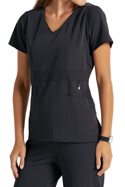 Vera Bradley Scrub Top Halo Frida Empire Waist V-neck in Black at Parker's Clothing and Shoes
