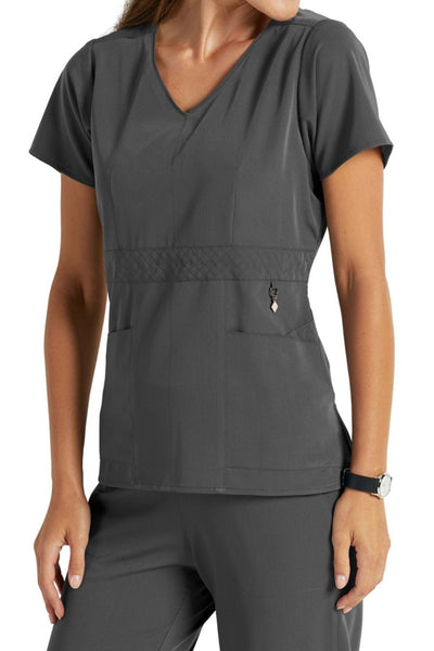 Vera Bradley Scrub Top Halo Frida Empire Waist V-neck in Pewter at Parker's Clothing and Shoes