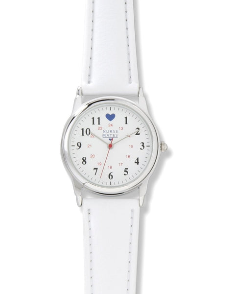 Nurse Mates Watch Analog With Second Hand Basic Military White 1.25""
