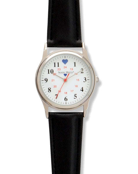 Nurse Mates Watch Analog With Second Hand Basic Military Black 1.25""