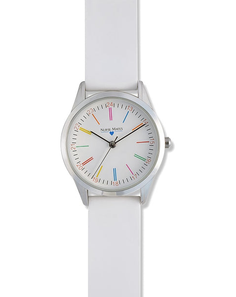 Nurse Mates Watch Analog With Second Hand Color Wheel White 1.25""