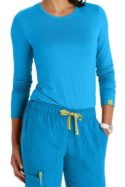 WonderWink Scrub Tee Silky Long Sleeve in Malibu Blue at Parker's Clothing and Shoes