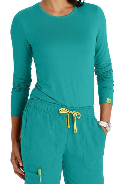 WonderWink Scrub Tee Silky Long Sleeve in Real Teal at Parker's Clothing and Shoes