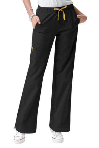 WonderWink Petite Scrub Pants Four-Stretch Sporty Cargo in Black at Parker's Clothing and Shoes