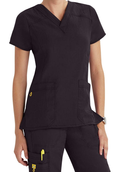 WonderWink Plus Size Scrub Top Four-Stretch Sporty V-Neck in Graphite at Parker's Clothing and Shoes
