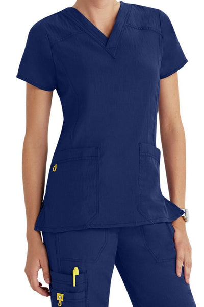 WonderWink Plus Size Scrub Top Four-Stretch Sporty V-Neck in Navy at Parker's Clothing and Shoes