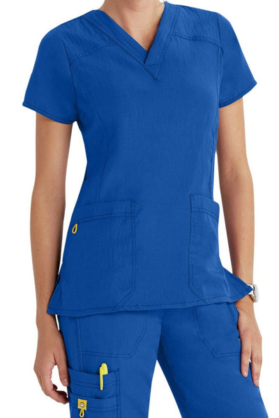 WonderWink Plus Size Scrub Top Four-Stretch Sporty V-Neck in Royal at Parker's Clothing and Shoes
