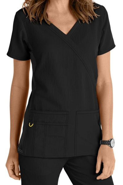 WonderWink Plus Size Scrub Top Four-Stretch Top Mock Wrap in Black Knit Panel at Parker's Clothing and Shoes