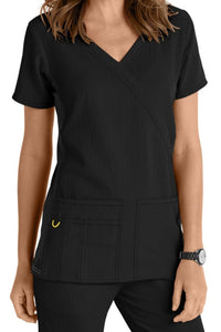 WonderWink Scrub Top Four-Stretch Top Mock Wrap in Black Knit Panel at Parker's Clothing and Shoes