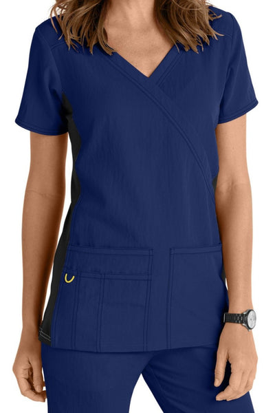WonderWink Scrub Top Four-Stretch Top Mock Wrap in Navy Knit Panel at Parker's Clothing and Shoes