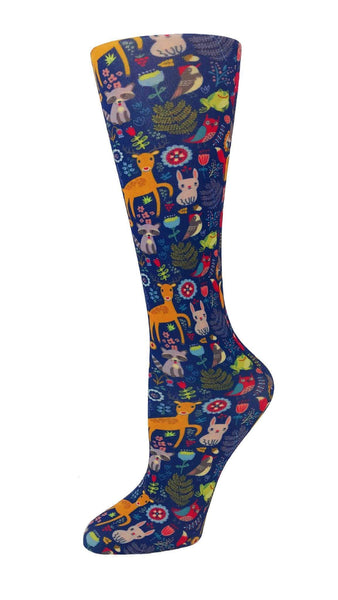 Cutieful Moderate Compression Socks 10-18 MMhg Wide Calf Knit Woodland Creatures at Parker's Clothing and Shoes.