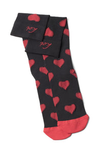 koi Mild Compression Socks 8-15 mmHg Black Red Hearts at Parker's Clothing and Shoes.