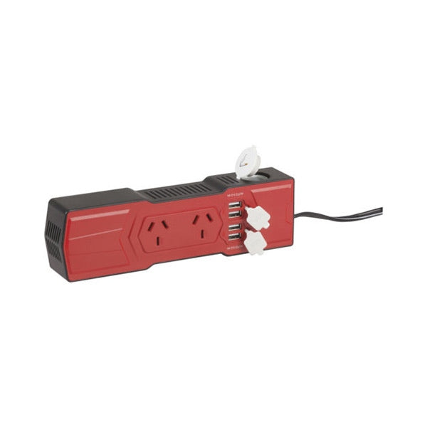 POWERTECH 200W Powerboard Inverter with 4 X 4.2A USB Outlets and Cigarette lighter socket