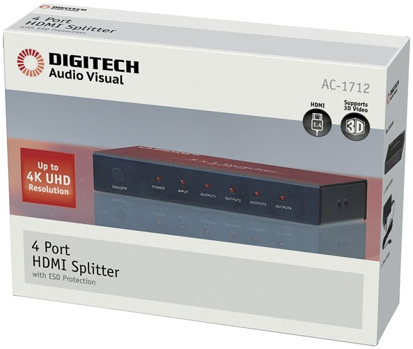 4 WAY HDMI SPLITTER WITH 4K SUPPORT