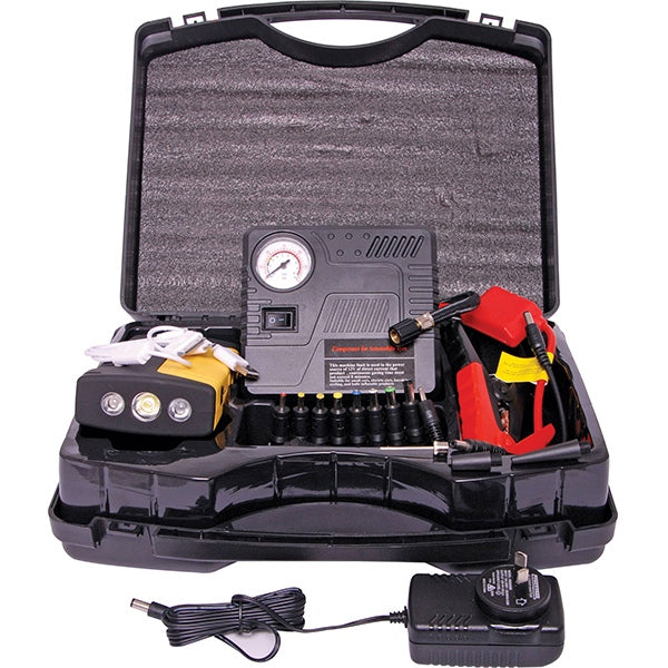 16800mAh 600A Lithium Jumpstarter and Compressor Breakdown kit