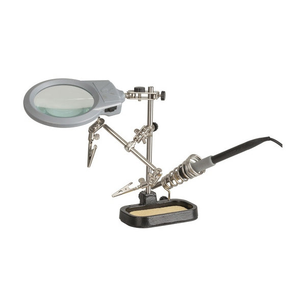 DURATECH PCB holder with LED Magnifier and Soldering Iron Stand