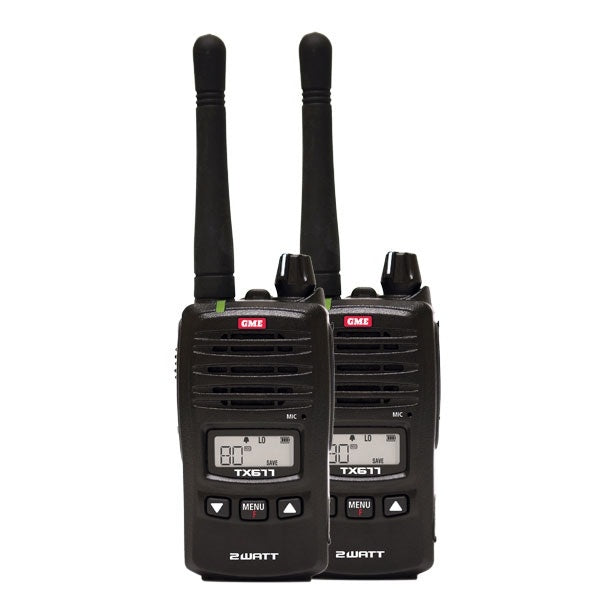 GME 2 Watt UHF CB Handheld Radio - Twin Pack