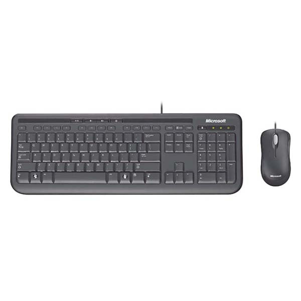 Microsoft Wired Desktop Keyboard and Mouse Black 600
