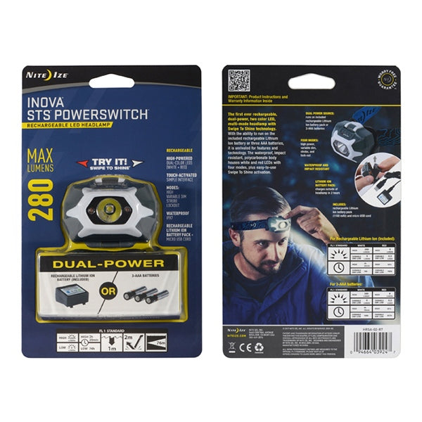 NITE IZE STS PowerSwitch Dual Power Rechargeable Headlamp