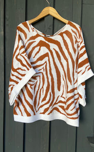 Strickpulli Oversize Animalprint