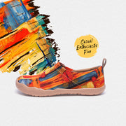 Color Zone Art Canvas Loafers for Women Shoes