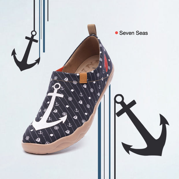Seven Seas Men Canvas Art Painted Travel Shoe