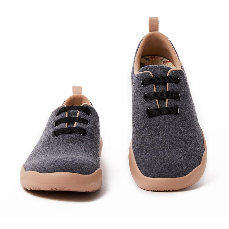 Segovia Deep Grey Wool Lace-up Shoes Men