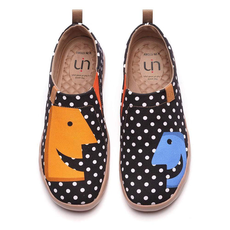 UIN Footwear Men -Hola- Male Trendy Dot Painted Flats Canvas loafers