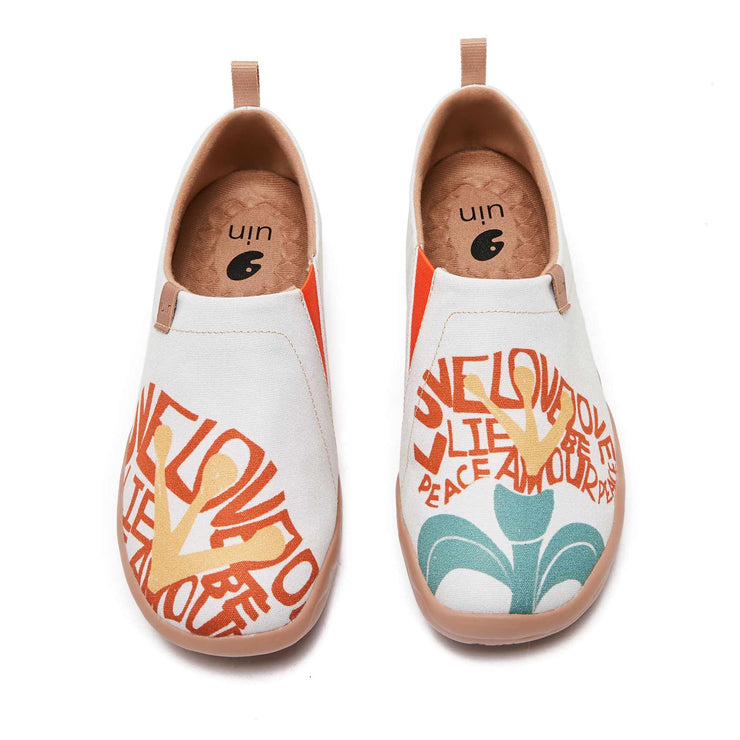UIN Footwear Women Flowers of Hope Canvas loafers