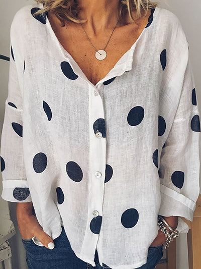 Women Polka Dots Buttoned Long Sleeve Casual Tops