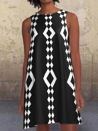 Black 1960's Geometric Pattern A-Line Retro Printed Pockets Casual Dresses