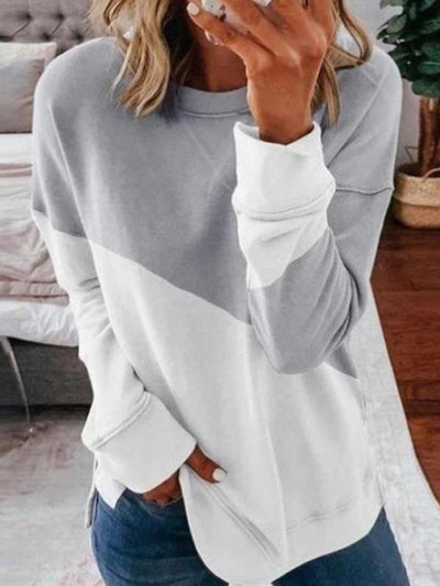 Casual Loose Solid Color Round Neck Stitching Long Sleeve T-shirt