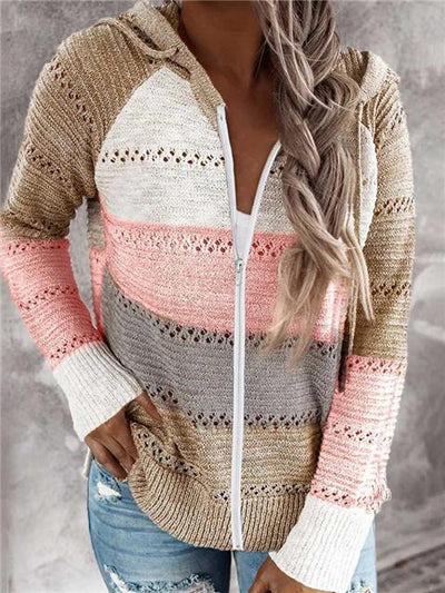 Contrast Color Long Sleeve Knitted Zipper Lightweight Hoodie