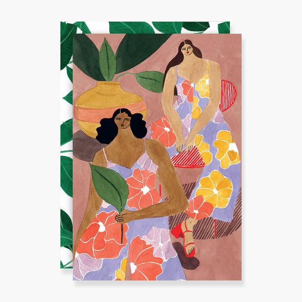 Floral Girls Art Card freeshipping - Forom