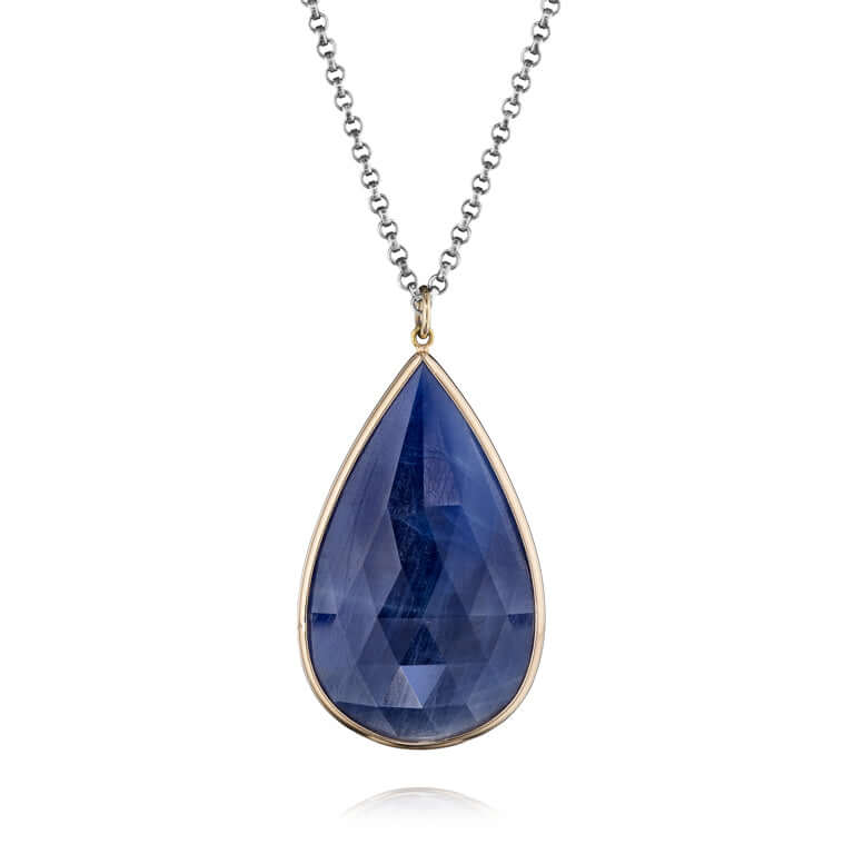 Ocean Blue Rose Cut Sapphire Teardrop Pendant Necklace by Jane Bartel Jewelry