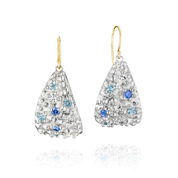 Sea Urchin Textured and Ocean Inspired Dangle Earrings in Sterling Silver with Colored Sapphires