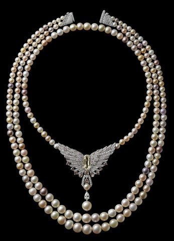 a double strand of enormous, natural South Sea pearls; the smaller is a strand of 55 pearls and the larger, of 73. The two together were worth $1 million – in 1917